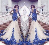 Para Casamento Платье 2017 Новая мода Sexy See-Through кружева аппликация Длинные рукава Русалка платья Поезд крыло ветряной мельницы вечера платья выпускного вечера
