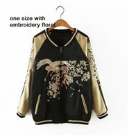 IRIS satin embroidery flower black bomber jacket women souve...