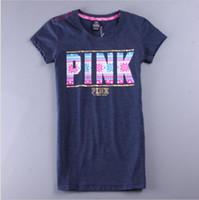 2016 Brand Women Summer Tops Letter Pattern Pink T- Shirt O- N...