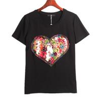 2 Colors Summer Hot T- shirt Women Sequined Love Heart Sequin...