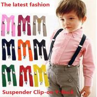 300 pcs Atacado Crianças Clip-on calças elásticas ajustáveis Y-back crianças Suspender Suspensórios Belt Black Boys / Girls suspender 0382
