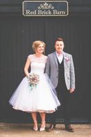 Урожай 1950-х годов Полька Пунктирные Короткие свадебные платья длины чая Маленькие белые платья 2016 года размер Vestidos де Novia Плюс Пляж Свадебные платья
