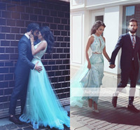 2017 New Design Two Pieces Prom Dresses Fiesta Sheer Neck Tu...
