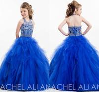 2016 Симпатичные Уголки Royal Blue Холтер шеи Backless девушки Pageant платья из бисера Кристаллы Tiers юбка бальное платье принцессы Дети Торжественная одежда