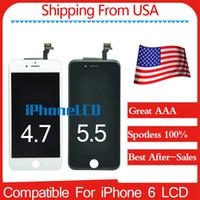 Expédition de USA Grade A +++ (100% Impeccable) Montage d'affichage à cristaux liquides avec le cadre tout neuf Pour l'iPhone 6 noir / blanc Les meilleurs services après-vente