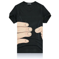2016 , Black White colors Hot 3D big Hand Printed cotton T- SH...