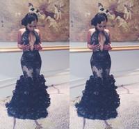 Дубай Арабский Black Rose вечерние платья Sexy Погружаясь шеи Mermaid шнурка Backless платья выпускного вечера аппликация оборками платья для особых случаев