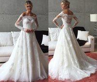 2016 A Line Long Sleeve Boat Neck Tulle Lace Applique Weddin...