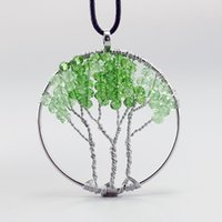 2016 popular green crystal Tree Of Life Natural Stone Round ...