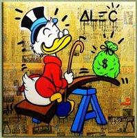 Alec монополия POP ART масляной живописи, Набор на столе, Handpainted на холсте Современный декор стены Мультфильм Граффити Арт Unstretched Unframe