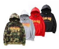 Camisola do hoodie do thrasher da chama do inverno dos homens novos hoodie camouflage do hoodie da camisola do hoodie do trasher do hip hop do streetwear do harajuku