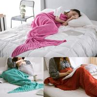 Creative Mermaid Tail Blanket Baby Crocheted Blanket Knit Ca...
