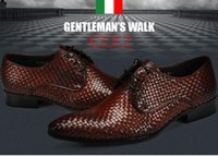 Top quality Men New woven dress shoes British pointed busine...