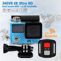 H8R H8 Ultra 4K HD 2 pouces 170 ° 360 VR HDMI WIFI caméras d'action Dual écran imperméable Sports Camera + télécommande DV DVR Retail package