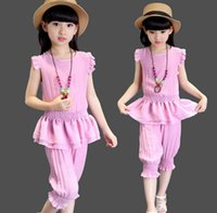 Summer 2016 Big Girl 2PCS Set Sleeveless Tunic Tank Tops wit...