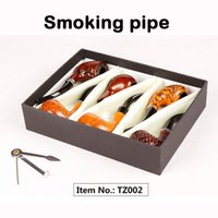 Cadeau de mode Bois de couleur tuyaux de fumer Métal Acrylique Matériel 6pcs / Set Tuyaux d'emballage cadeau pour fumer 4 types TZ001 / TZ002 / TZ004 / TZ005