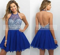 Rhinestone Halter Short Homecoming Dresses 2016 Sexy Backles...