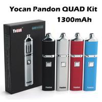 На складе Аутентичные Yocan Pandon QUAD Воск Pen Vaporizer комплекты 1300mAh батареи Комплекты 2 комплекта сигарет Регулируемая E ППЭС напряжения