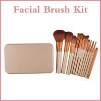 2016 Profesional 12pcs Maquillaje cosmético Facial Brush Kit Cepillo de metal Box Cepillo de polvo de cara 13,7 cm cepillo de base plana
