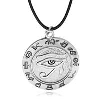 Collier de wicca Oeil de Horus Symbole de dieu du soleil égyptien Symbole Collier de pendentif Rune oeil colliers de bijoux de style punk pour les femmes et les hommes chaîne de corde