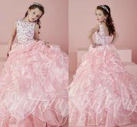 Новые 2016 Розовые девушки Pageant платья Sheer шеи экипажа из бисера кристаллы Rhinstone бальное платье принцессы Детские вечерние платья для маленьких девочек