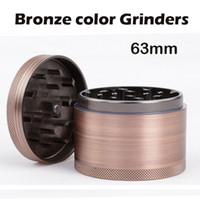 Broyeurs de couleur en bronze 63mm Broyeur de broyeur en acier en alliage d'aluminium Grinder 4 pièces Broyeur de pierre VS Sharp Qualité TOP