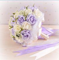 2016 Фиолетовый жемчуг Свадебные букеты с запястья корсаж Подарок Искусственные цветы невесты Холдинг цветы цветы ручной работы свадебных букетов