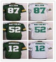 2016 Green football jerseys 12 Rodgers 52 Matthews 18 Cobb W...