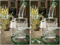 Bongs Nouveau 13/7 bras Double Macro Double travail arboré perc bongs verre pipe de l'eau de la machinerie de pépinière hookah dab avec banger clou
