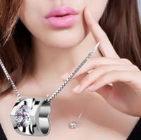 925 plaqué argent collier pour toujours amour coeur charme cristal cubique zircone pendentif collier avec chian pour les amants cadeau de la Saint-Valentin