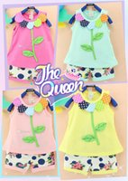 2016 baby outfits Pure cotton sunflower flower leaves vest &...