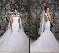 Cheap In Stock Berta Sexy Sheer Back Mermaid Wedding Dresses...
