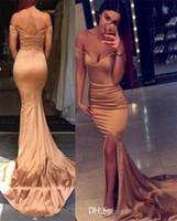 2016 Off Shoulder Split Mermaid Prom Dresses 2017 Gold Sexy ...