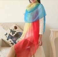 Soie douce écharpe douce dégradé de couleur châle envelopper 2016 chaud femme de mode filles dames écharpe grande taille 180 * 150cm