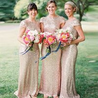 Capped Lace Sequin Mermaid Bridesmaid Dress With Short Sleev...