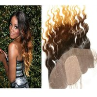 Peruvian Ombre Hair #1B 4 27 Honey Blonde Silk Base Lace Fro...
