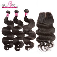 "1PC Middle Part Top Lace Closure 4"" x4"" With 3PCS B..."