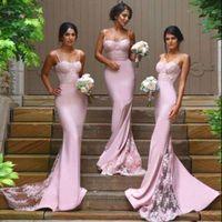 Груша Розовые 2016 платья невесты Кружева Sexy Русалка Бисероплетение бретельках Zip Назад Sweep Поезд Sexy Дубай арабский Нью-Gowns