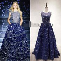 2016 Zuhair Murad вечерние платья из бисера Sparkly Кристалл Line синий Специальный Платья Малые звезды Celebrty платье сшитое