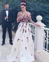 2017 Последним линия с длинным рукавом Красочные кружева аппликация с партии Длинные Sexy Пром платья вечерние платья