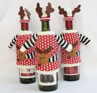 Christmas Elk Knitting Red Wine Bottle Bag Christmas Decorat...
