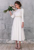 Горячие Продажа Country Style Хиппи Свадебные платья 2016 года O Шея Длинные рукава плюс размер выполненный на заказ чай Длина Свадебные платья с кристаллами Sash
