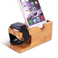 Bois de Bambou support de charge Support Docking Station Support Stock Cradle pour tous les téléphones Montres d'Apple iPhone 6 5 5S intelligents OTH305