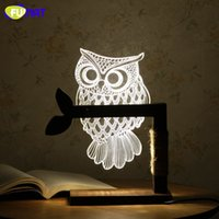 3D Acrylic Owl Lamp Creative Cute OWL Wooden Base Decor Beds...