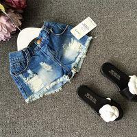 Summer Children Denim Shorts Korean Girl Lace Shorts Kid&#03...