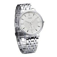 Tierxda Hommes étanche Quartz affaires en acier inoxydable montre-bracelet 6073G