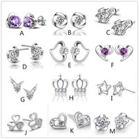 Mix style 925 silver plated earrings natural crystal wholesa...