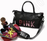 Женщины сумки Розовый Письмо большой емкости для путешествий Duffle Полосатый водонепроницаемый мешок пляжа мешок плеча 20pcs OOA780