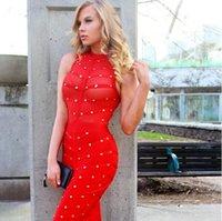 2016 new sleeveless mesh studded button sexy women dress oli...