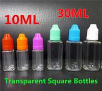 10ML 30ML Place Bouteille PET jus bouteilles d'huile liquide transparent E goutte Bouteilles d'aiguille vide noir Tamper Proof enfants Caps longues Tips minces